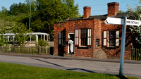 Tram passing the Toll House, at the Black Country Living Museum,